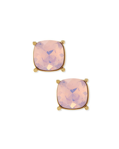 Crystal Stud Earrings, Light Gold/Rosewater