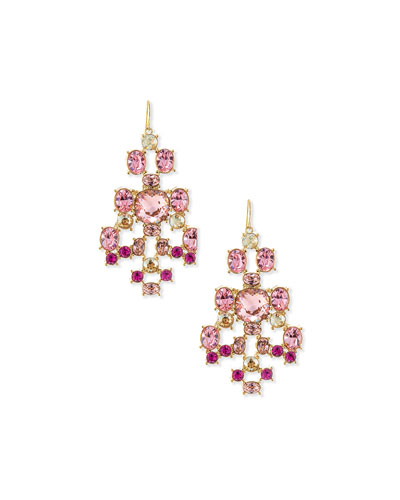 14k Multi Tonal Crystal Drop Earrings