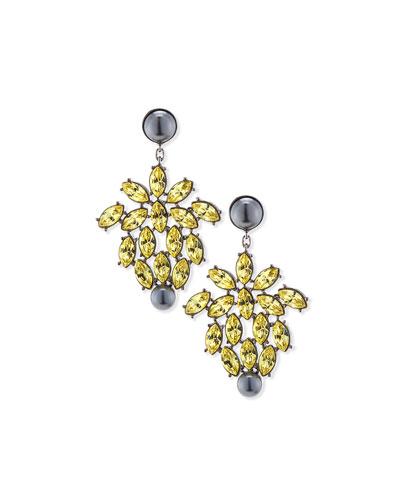 Pearly & Crystal Drop Earrings