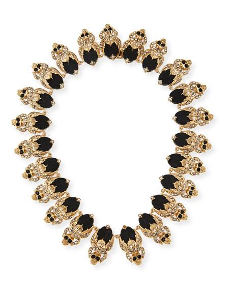 Givenchy Crystal Skull Link Necklace, Black