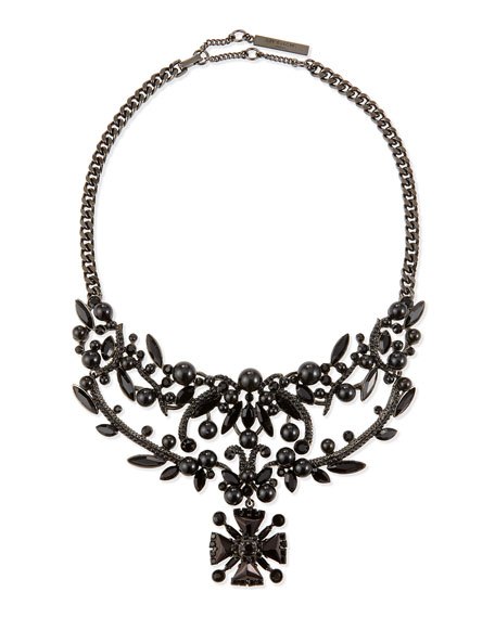 Givenchy Jet Crystal Bib Necklace, Black