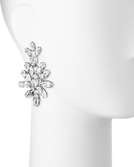 Navette Crystal Drop Clip Earrings