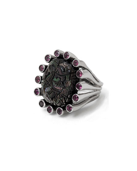Carved Mother-of-Pearl & Rhodolite Garnet Ring