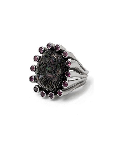 Stephen Dweck Carved Mother-of-Pearl & Rhodolite Garnet Ring