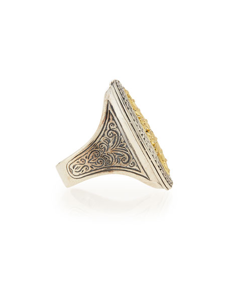 Image 2 of 2: Konstantino Silver & 18k Gold Filigree Top Oval Ring