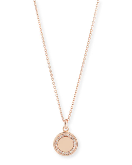 """Cosmos 14K Rose-Gold Pavé Diamond Locket Necklace, 18"""""""