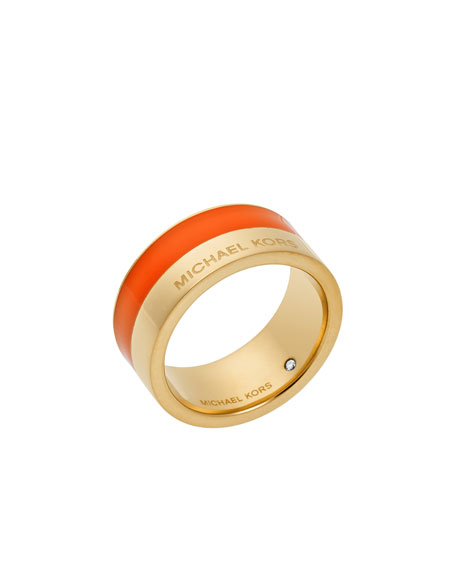 Logo Colorblock Ring, Golden/Orange