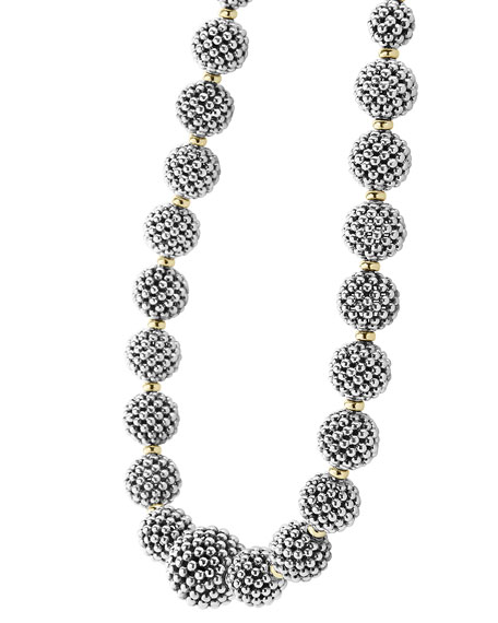 Sterling Silver Caviar Lattice Ball Necklace, 17""