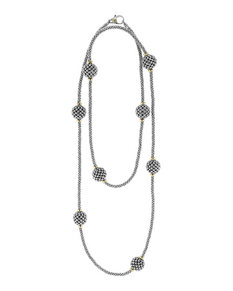 13mm Caviar Lattice Station Necklace, 32""