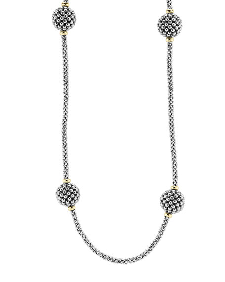 Lagos 13mm Caviar Lattice Station Necklace, 32