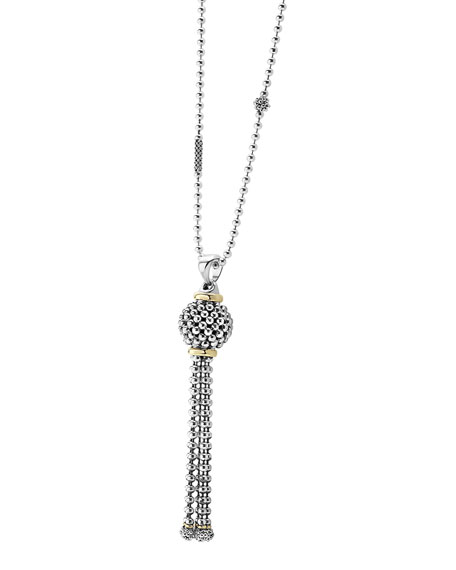 Sterling Silver Caviar Tassel Necklace