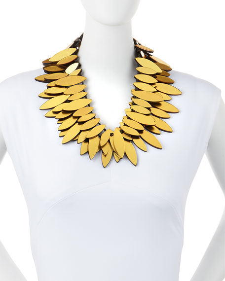 Gold Foil Layered Petal Necklace