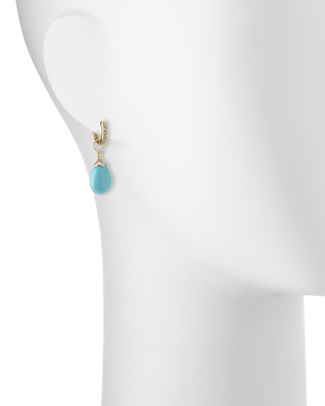 18K Gold Turquoise and Diamond Earring Charms