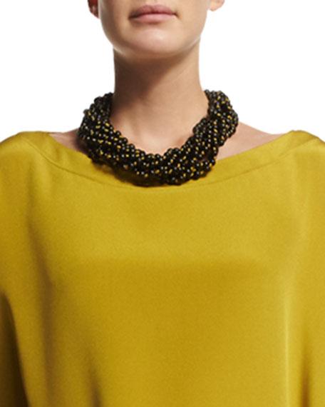 eskandar Nine-Strand Short Necklace, Dark Olive Oil