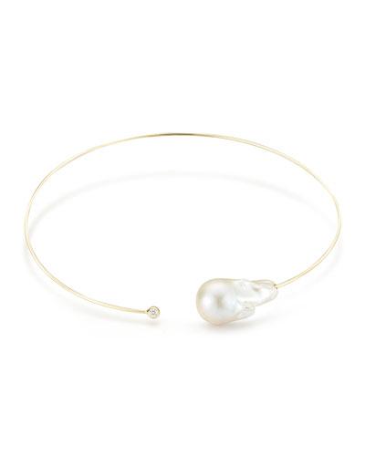 Baroque Pearl & Single Diamond Collar Necklace