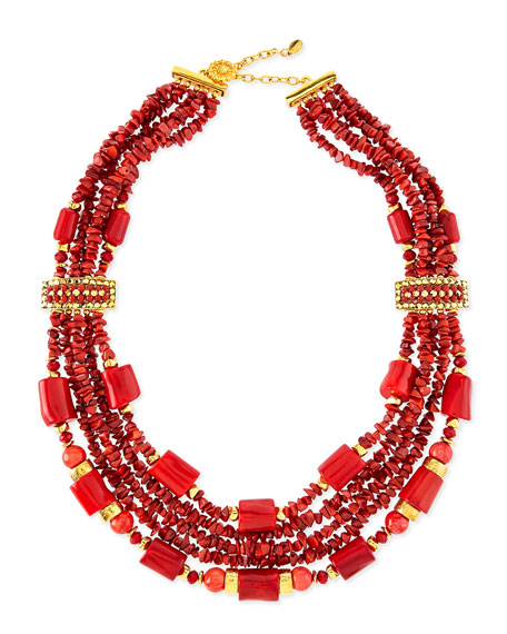 Jose & Maria Barrera 24K Gold Chunky Coral Necklace