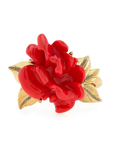 Resin Flower Bracelet, Persimmon