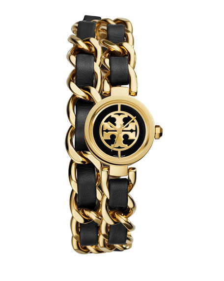 Tory Burch Watches Mini Reva Chain Strap Watch, Black