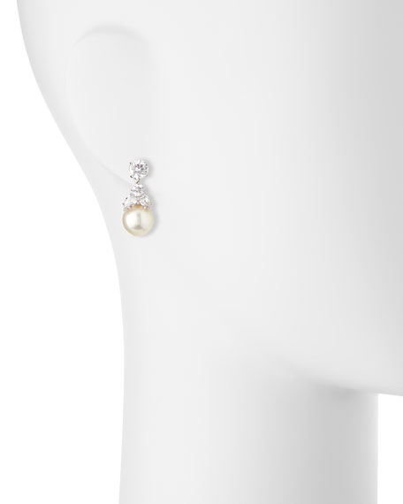 Fantasia by DeSerio CZ Stud & Simulated Pearl Dangle Earrings