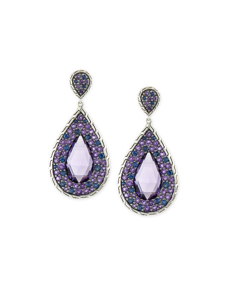 John Hardy Batu Classic Chain Amethyst Drop Earrings