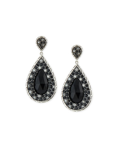 Batu Classic Chain Black Chalcedony & Sapphire Drop Earrings