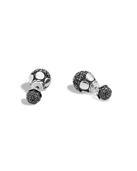 Dot Black Sapphire Lava Jacket Stud Earrings