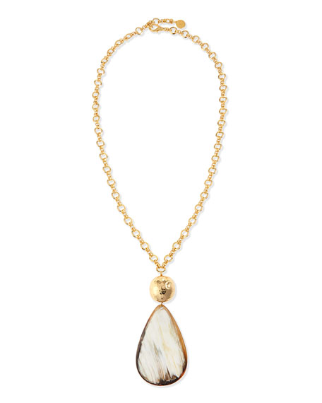 NEST Jewelry Teardrop Horn Pendant Necklace, 34