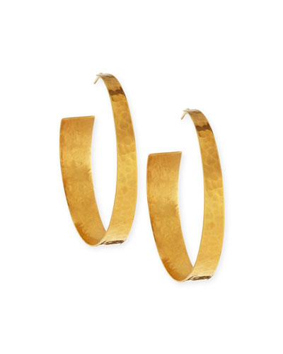 22k Gold-Plated Hammered Hoop Earrings