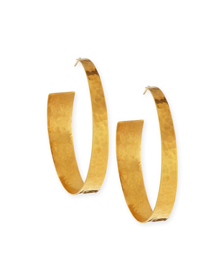 NEST Jewelry 22k Gold-Plated Hammered Hoop Earrings
