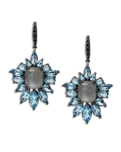 Blue Quartz Fan Drop Earrings