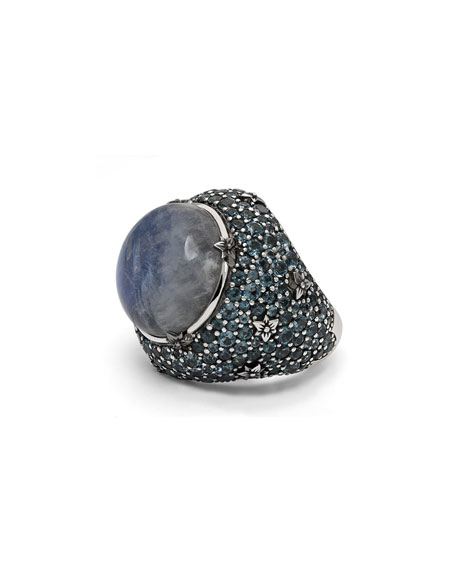 Stephen Dweck Pavé London Blue Topaz & Moonstone