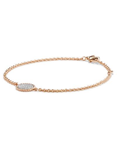 18K Rose Gold & Pavé Diamond Cable Bracelet