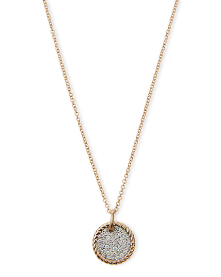 David Yurman 18k Rose Gold-Plate Diamond Pave Pendant