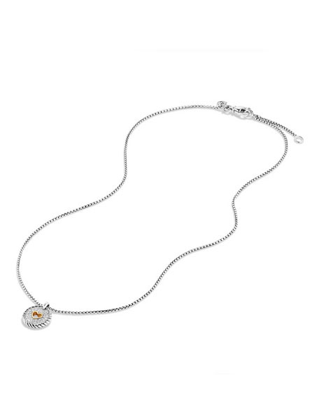 David Yurman Petite Pavé Diamond Heart Pendant Necklace