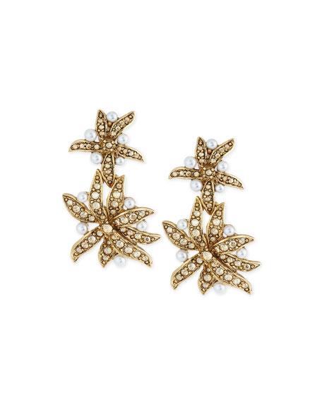 Oscar de la Renta Pearly Flower Double-Drop Clip