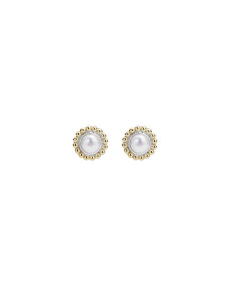 Lagos 6mm 18K Gold Luna Pearl Earrings lwFCe