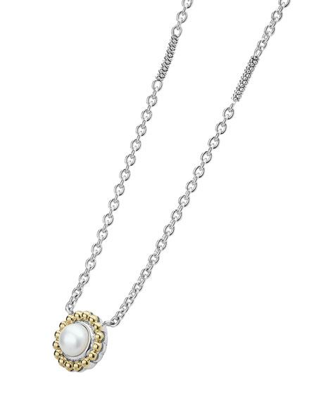 Lagos 6mm 18K Gold Luna Pearl Pendant Necklace wF221jXEOZ