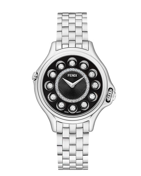 Fendi 33mm Crazy Carats Stainless Steel Diamond Watch,