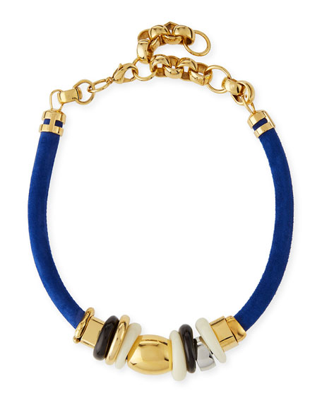 Lizzie Fortunato Treasure Surf Suede Necklace, Blue