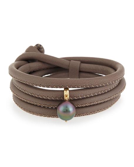 Mizuki Convertible Leather Wrap Bracelet/Choker with Pearl Charm,