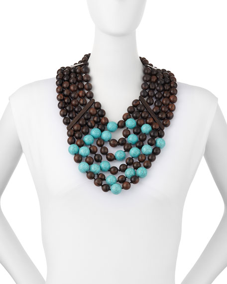Multi-Row Wood & Turquoise Bead Necklace