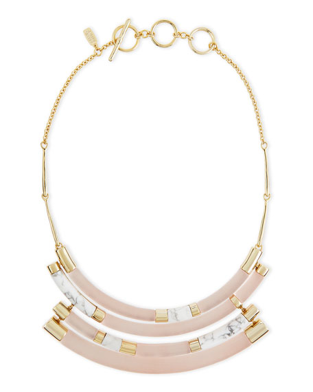 Alexis Bittar Colorblock Crescent Howlite Bib Necklace, Sunset