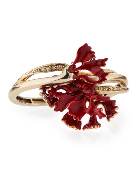 Oscar de la RentaSwarovski® Enamel Carnation Bracelet, Ruby