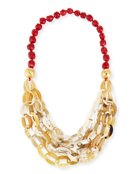NEST Jewelry Horn Link Coral Necklace