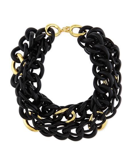 Multi-Strand Link Necklace, Black/Golden