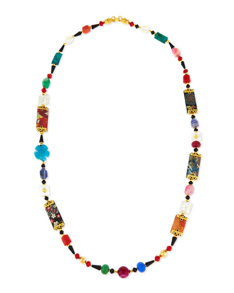 """Long Floral-Print Mixed Bead Necklace, 48"""""""