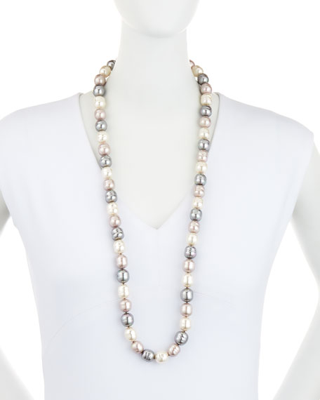 Long Three-Tone Baroque Pearl Necklace, 36""