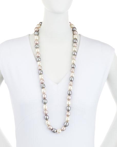 "Long Three-Tone Baroque Pearl Necklace, 36"""