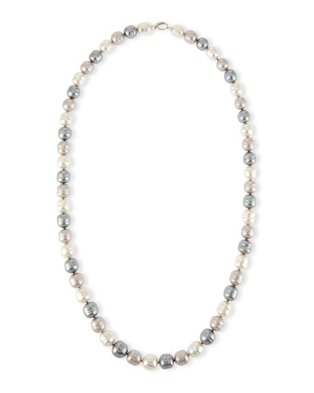 Majorica Long Three-Tone Baroque Pearl Necklace, 36
