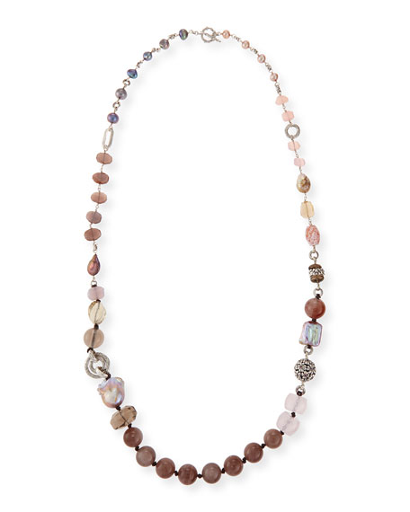 Stephen Dweck Long Mixed-Stone & Pearl Necklace, 38